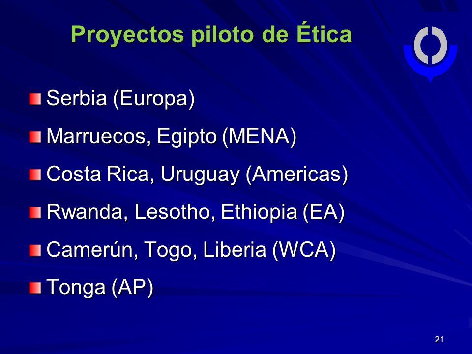 21 Serbia (Europa) Marruecos, Egipto (MENA) Costa Rica, Uruguay (Americas) Rwanda, Lesotho, Ethiopia (EA) Camerún, Togo, Liberia (WCA) Tonga (AP) Proyectos piloto de Ética