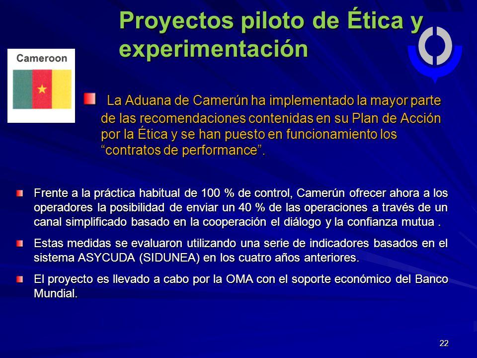 22 Proyectos piloto de Ética y experimentación La Aduana de Camerún ha implementado la mayor parte de las recomendaciones contenidas en su Plan de Acción por la Ética y se han puesto en funcionamiento los contratos de performance.