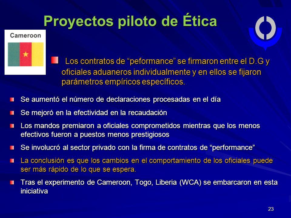 23 Proyectos piloto de Ética Los contratos de peformance se firmaron entre el D.G y oficiales aduaneros individualmente y en ellos se fijaron parámetros empíricos específicos.