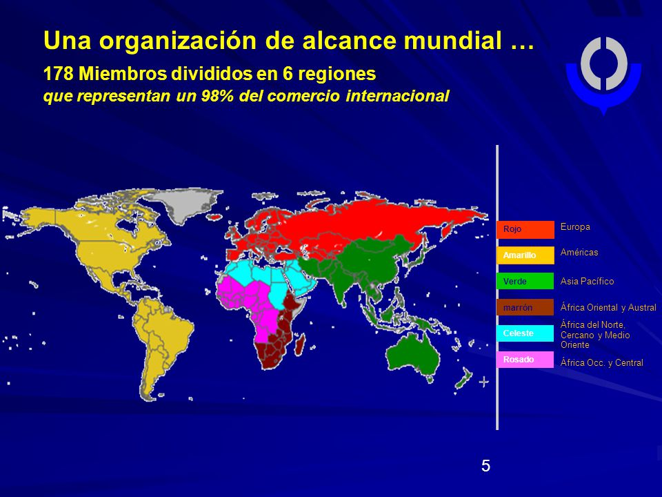 Europa Américas Asia Pacífico África Oriental y Austral África del Norte, Cercano y Medio Oriente África Occ.