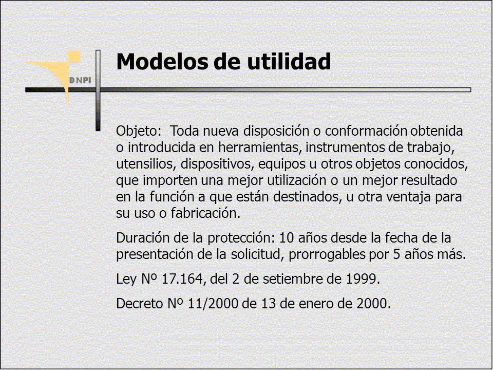 Modelos de utilidad Objeto: Toda nueva disposición o conformación obtenida o introducida en herramientas, instrumentos de trabajo, utensilios, disposi