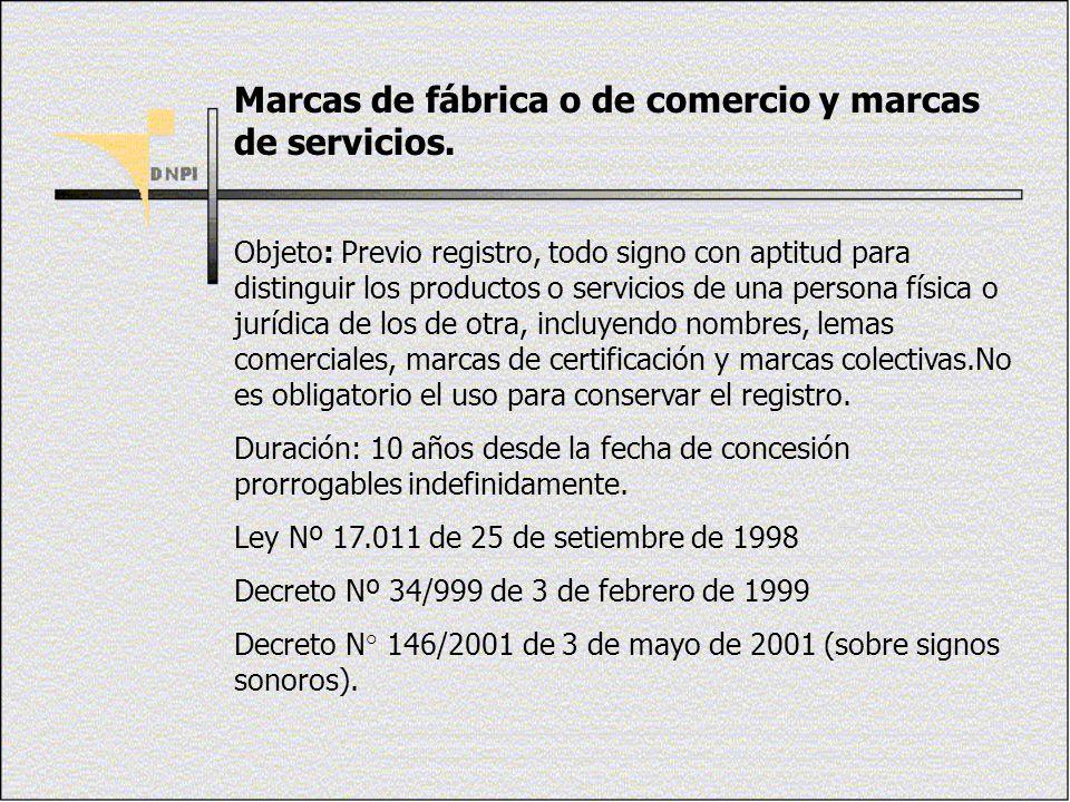 Marcas de fábrica o de comercio y marcas de servicios. Objeto: Previo registro, todo signo con aptitud para distinguir los productos o servicios de un