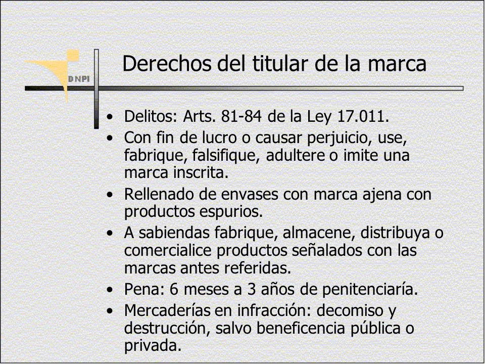 Derechos del titular de la marca Delitos: Arts. 81-84 de la Ley 17.011. Con fin de lucro o causar perjuicio, use, fabrique, falsifique, adultere o imi