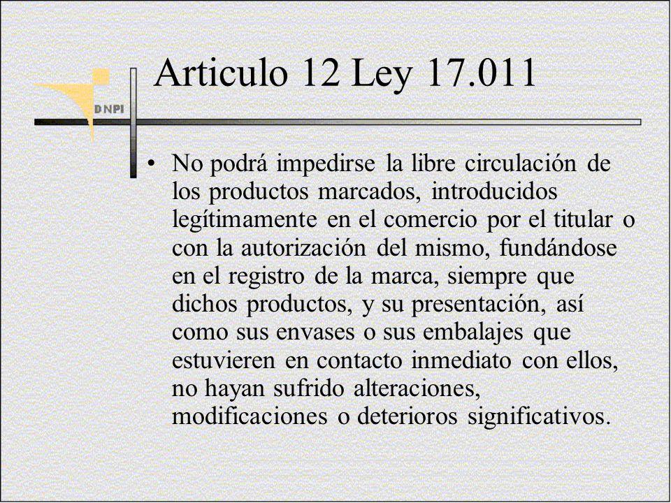 Articulo 12 Ley 17.011 No podrá impedirse la libre circulación de los productos marcados, introducidos legítimamente en el comercio por el titular o c