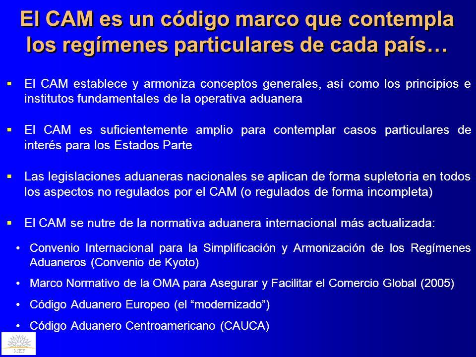 MEF El CAM es un código marco que contempla los regímenes particulares de cada país… El CAM establece y armoniza conceptos generales, así como los pri