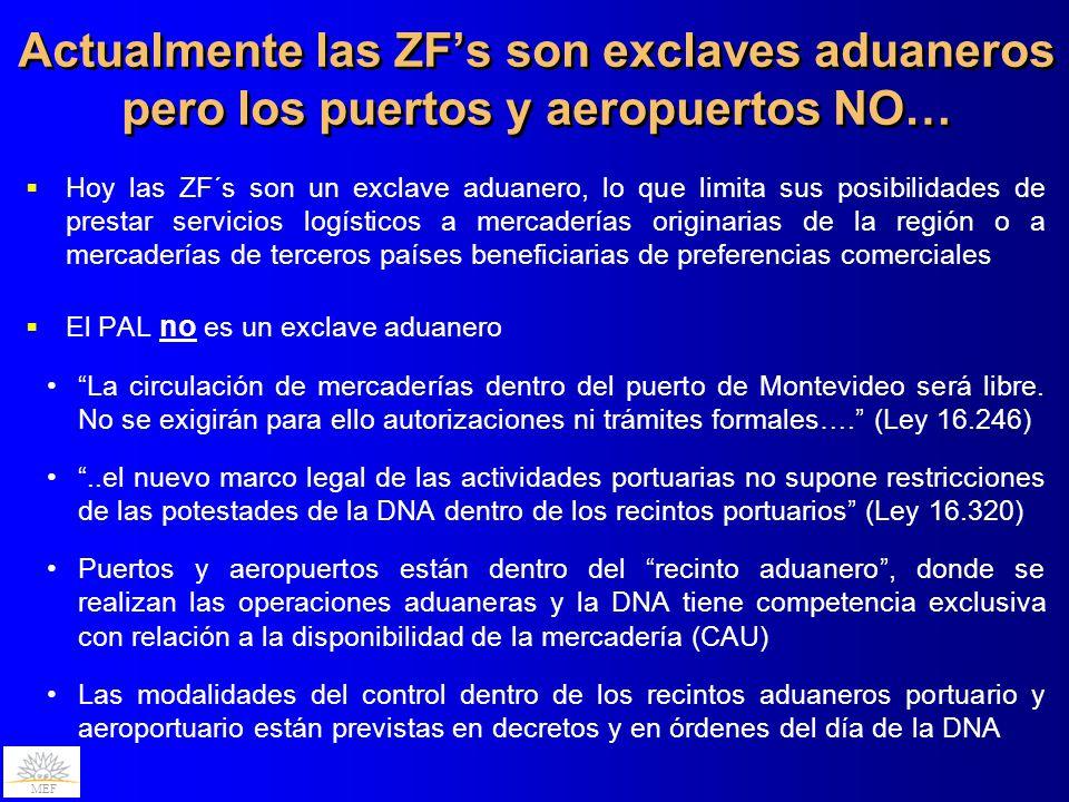 MEF Actualmente las ZFs son exclaves aduaneros pero los puertos y aeropuertos NO… Hoy las ZF´s son un exclave aduanero, lo que limita sus posibilidade