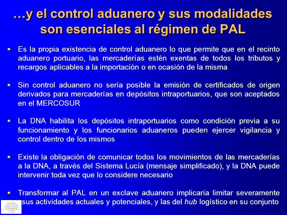 MEF …y el control aduanero y sus modalidades son esenciales al régimen de PAL Es la propia existencia de control aduanero lo que permite que en el rec