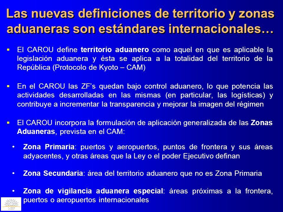 MEF Las nuevas definiciones de territorio y zonas aduaneras son estándares internacionales… El CAROU define territorio aduanero como aquel en que es a