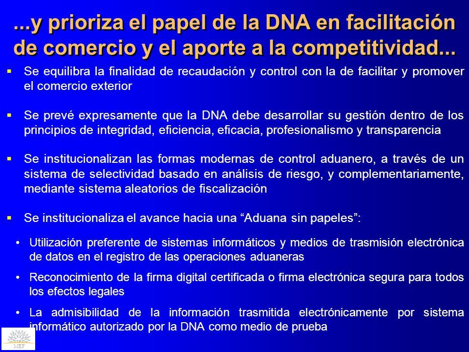 MEF Se equilibra la finalidad de recaudación y control con la de facilitar y promover el comercio exterior Se prevé expresamente que la DNA debe desar