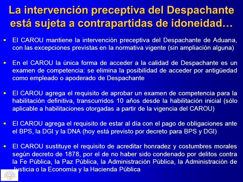 MEF El CAROU mantiene la intervención preceptiva del Despachante de Aduana, con las excepciones previstas en la normativa vigente (sin ampliación algu
