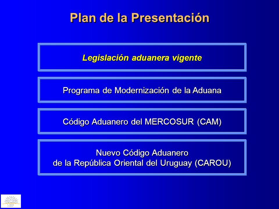 MEF Los tres pilares de la legislación aduanera uruguaya son muy antiguos… Código Aduanero Uruguayo (CAU), ley N° 15.691 de 1984 Régimen Infraccional Aduanero, capítulo XII, ley N° 13.318, de 1964 Régimen de los Despachantes de Aduana, ley N° 13.925, de 1970 El CAU tomó como fuente principal la doctrina tradicional aduanera uruguaya que se había generado durante el Siglo XX, por lo que ya no se ajustaba en ese momento a la regulación y terminología de la normativa internacional al momento de su elaboración Estas normas han sido objeto de diversas modificaciones, incorporaciones y reglamentaciones, y coexisten con otras normas dedicadas, también, a la materia aduanera La normativa aduanera está muy dispersa y se generó en diferentes momentos y respondiendo a diferentes problemáticas y concepciones