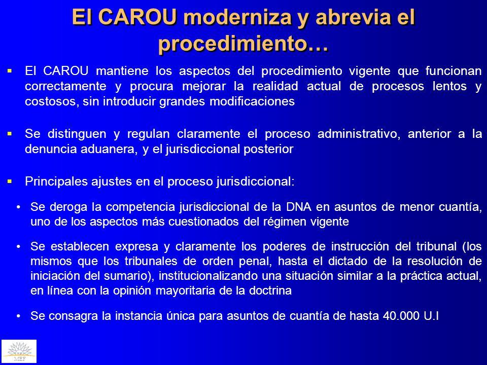 MEF El CAROU mantiene los aspectos del procedimiento vigente que funcionan correctamente y procura mejorar la realidad actual de procesos lentos y cos