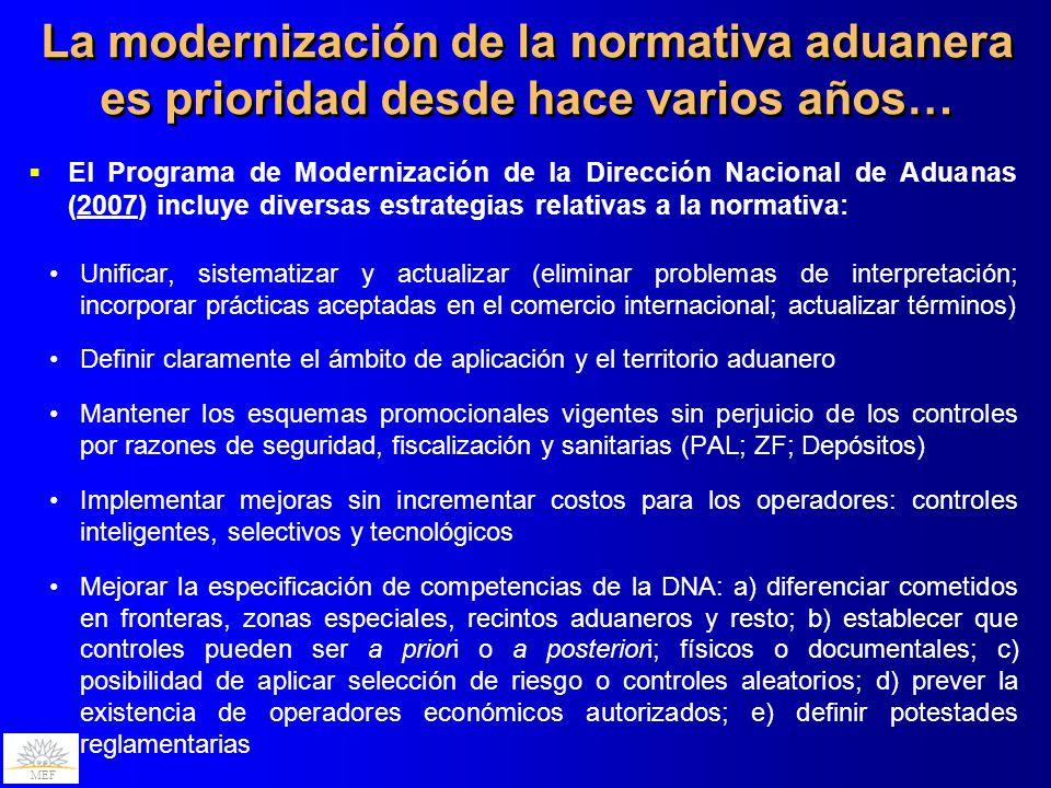 MEF La modernización de la normativa aduanera es prioridad desde hace varios años… El Programa de Modernización de la Dirección Nacional de Aduanas (2