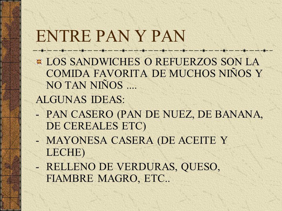 ENTRE PAN Y PAN LOS SANDWICHES O REFUERZOS SON LA COMIDA FAVORITA DE MUCHOS NIÑOS Y NO TAN NIÑOS.... ALGUNAS IDEAS: -PAN CASERO (PAN DE NUEZ, DE BANAN