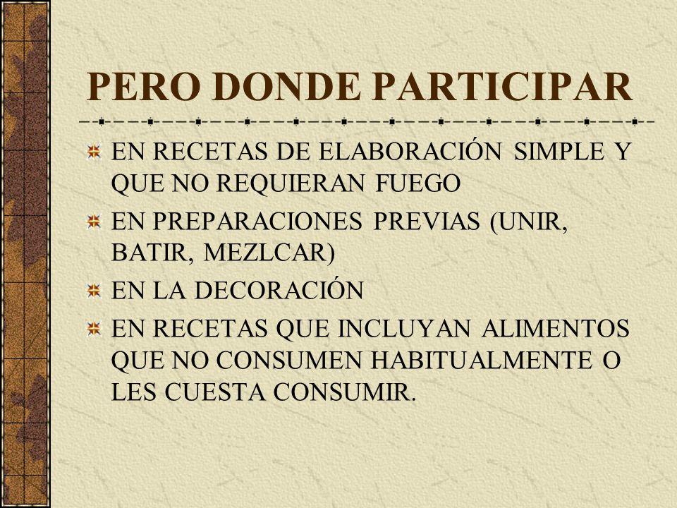 PERO DONDE PARTICIPAR EN RECETAS DE ELABORACIÓN SIMPLE Y QUE NO REQUIERAN FUEGO EN PREPARACIONES PREVIAS (UNIR, BATIR, MEZLCAR) EN LA DECORACIÓN EN RECETAS QUE INCLUYAN ALIMENTOS QUE NO CONSUMEN HABITUALMENTE O LES CUESTA CONSUMIR.
