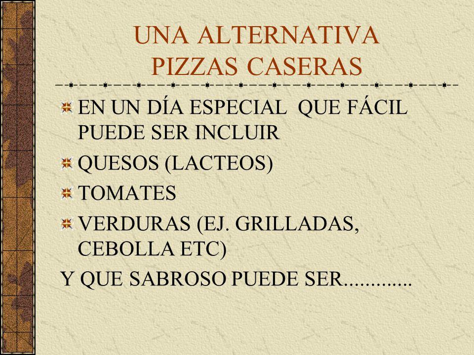 UNA ALTERNATIVA PIZZAS CASERAS EN UN DÍA ESPECIAL QUE FÁCIL PUEDE SER INCLUIR QUESOS (LACTEOS) TOMATES VERDURAS (EJ.