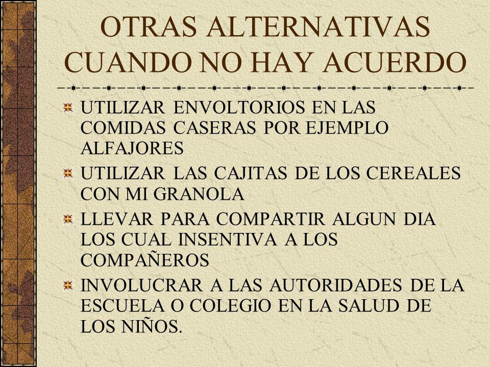 OTRAS ALTERNATIVAS CUANDO NO HAY ACUERDO UTILIZAR ENVOLTORIOS EN LAS COMIDAS CASERAS POR EJEMPLO ALFAJORES UTILIZAR LAS CAJITAS DE LOS CEREALES CON MI GRANOLA LLEVAR PARA COMPARTIR ALGUN DIA LOS CUAL INSENTIVA A LOS COMPAÑEROS INVOLUCRAR A LAS AUTORIDADES DE LA ESCUELA O COLEGIO EN LA SALUD DE LOS NIÑOS.
