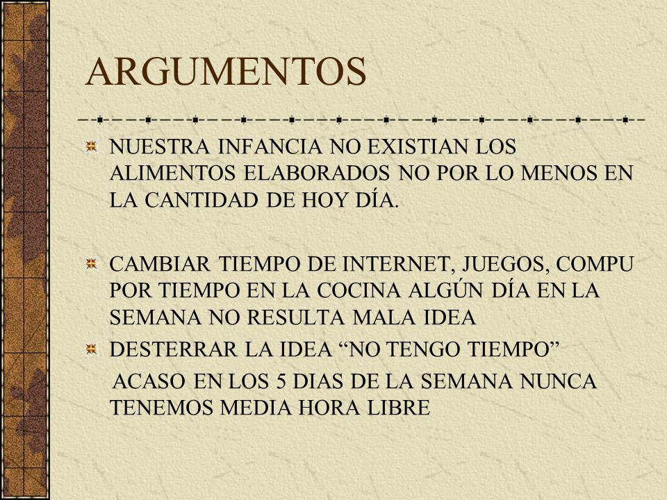 ARGUMENTOS NUESTRA INFANCIA NO EXISTIAN LOS ALIMENTOS ELABORADOS NO POR LO MENOS EN LA CANTIDAD DE HOY DÍA. CAMBIAR TIEMPO DE INTERNET, JUEGOS, COMPU