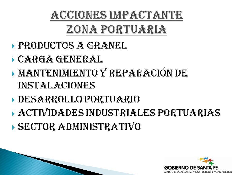 Productos a granel Carga general Mantenimiento y reparación de instalaciones Desarrollo portuario Actividades industriales portuarias Sector administrativo