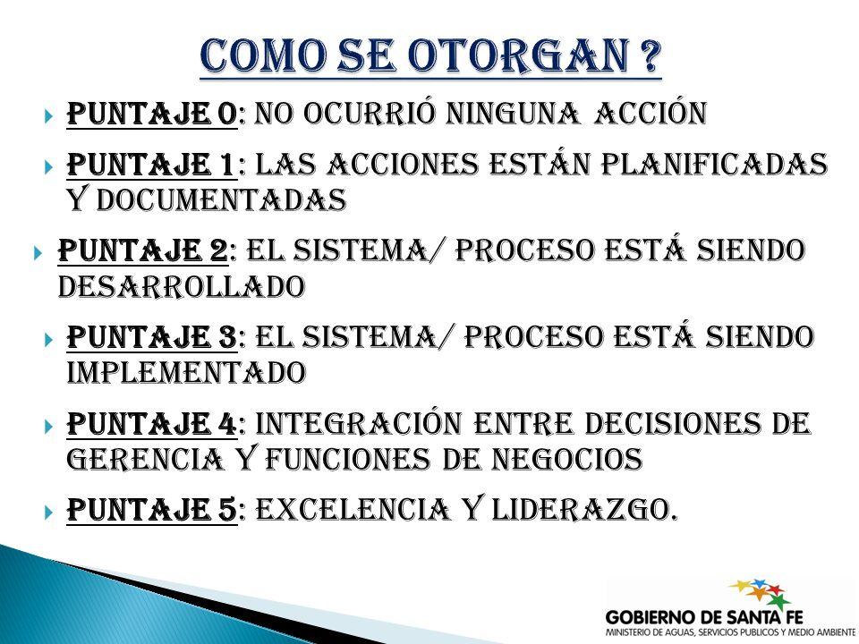 Puntaje 0: No ocurrió ninguna acción Puntaje 1: Las acciones están planificadas y documentadas Puntaje 2: El sistema/ proceso está siendo desarrollado