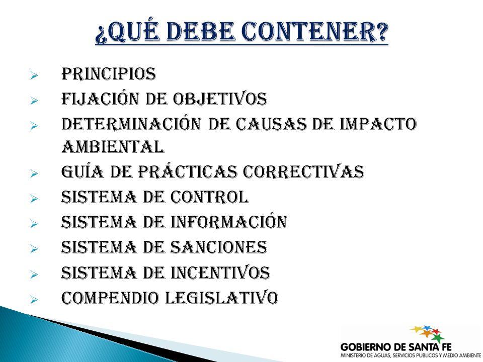 principios Fijación de objetivos Determinación de causas de impacto ambiental Guía de prácticas correctivas Sistema de control Sistema de información