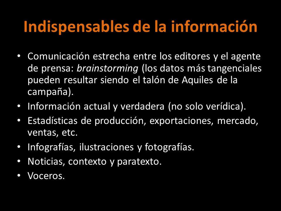Indispensables de la información Comunicación estrecha entre los editores y el agente de prensa: brainstorming (los datos más tangenciales pueden resu