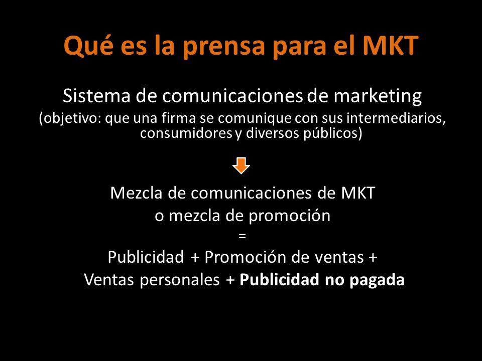 Qué es la prensa para el MKT Sistema de comunicaciones de marketing (objetivo: que una firma se comunique con sus intermediarios, consumidores y diver