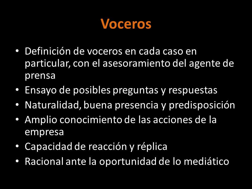 Voceros Definición de voceros en cada caso en particular, con el asesoramiento del agente de prensa Ensayo de posibles preguntas y respuestas Naturali