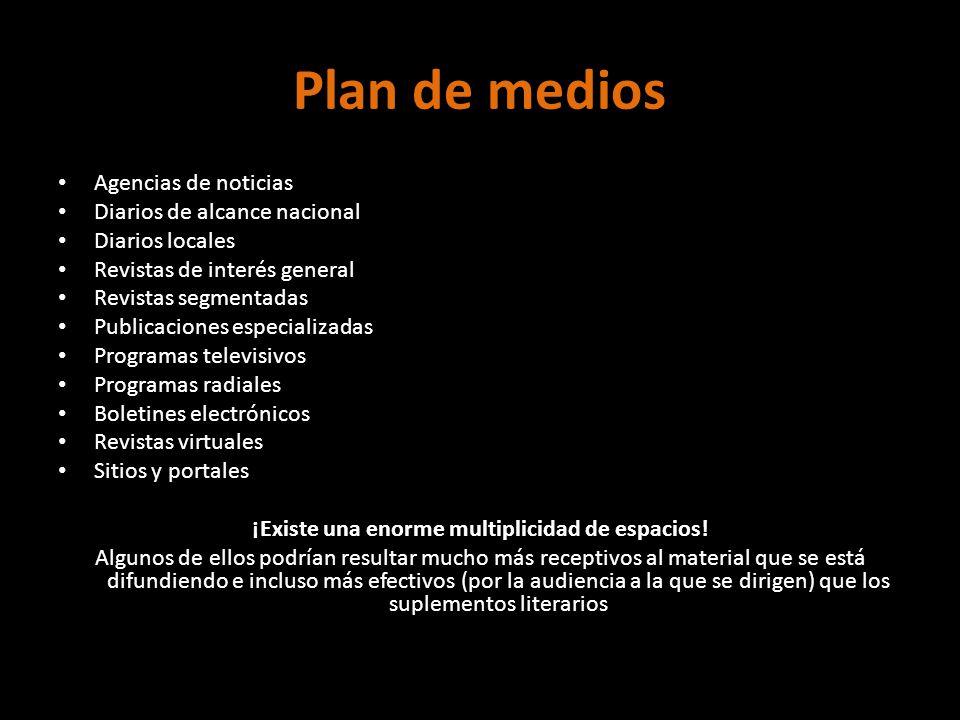 Plan de medios Agencias de noticias Diarios de alcance nacional Diarios locales Revistas de interés general Revistas segmentadas Publicaciones especia