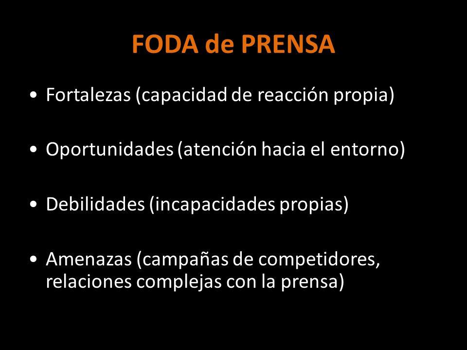 FODA de PRENSA Fortalezas (capacidad de reacción propia) Oportunidades (atención hacia el entorno) Debilidades (incapacidades propias) Amenazas (campa