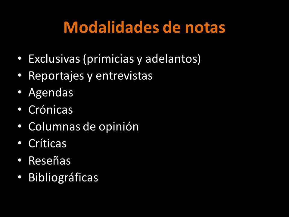 Modalidades de notas Exclusivas (primicias y adelantos) Reportajes y entrevistas Agendas Crónicas Columnas de opinión Críticas Reseñas Bibliográficas