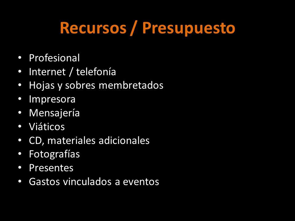 Recursos / Presupuesto Profesional Internet / telefonía Hojas y sobres membretados Impresora Mensajería Viáticos CD, materiales adicionales Fotografía