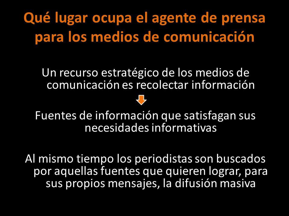 Qué lugar ocupa el agente de prensa para los medios de comunicación Un recurso estratégico de los medios de comunicación es recolectar información Fue
