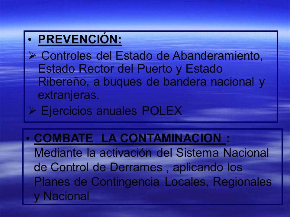 PREVENCIÓN: Controles del Estado de Abanderamiento, Estado Rector del Puerto y Estado Ribereño, a buques de bandera nacional y extranjeras. Ejercicios