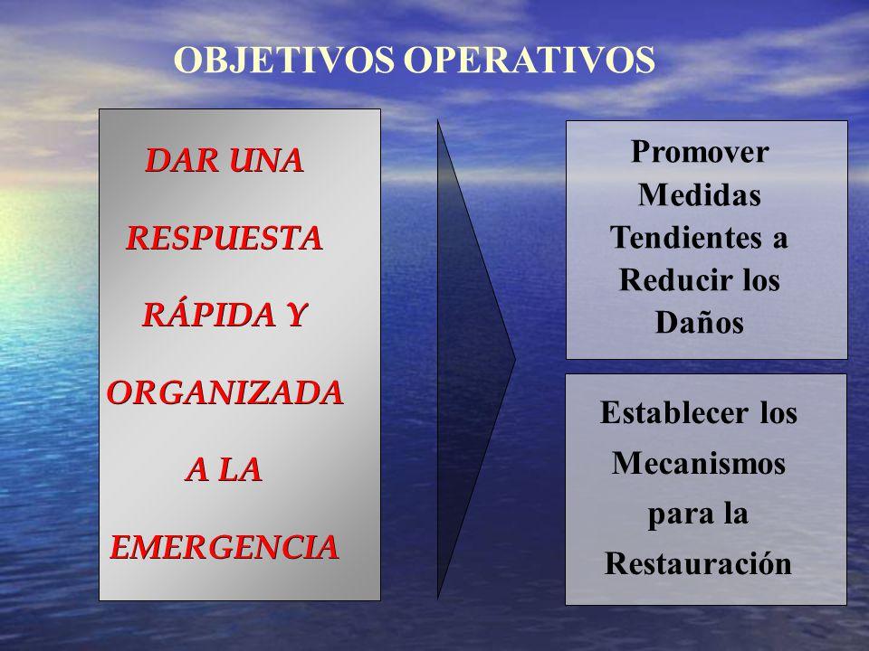 OBJETIVOS OPERATIVOS DAR UNA RESPUESTA RÁPIDA Y ORGANIZADA A LA EMERGENCIA Promover Medidas Tendientes a Reducir los Daños Establecer los Mecanismos p