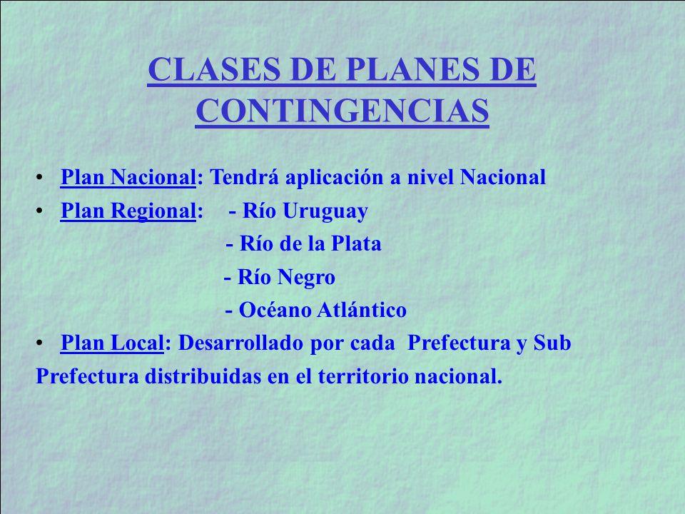 CLASES DE PLANES DE CONTINGENCIAS Plan Nacional: Tendrá aplicación a nivel Nacional Plan Regional: - Río Uruguay - Río de la Plata - Río Negro - Océan