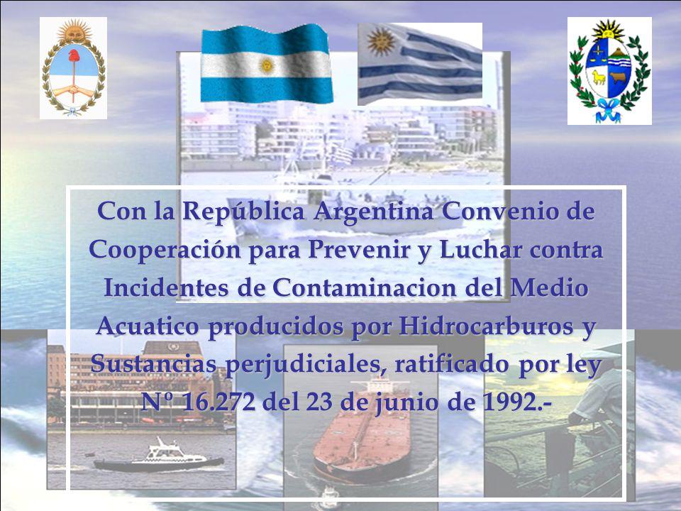 Con la República Argentina Convenio de Cooperación para Prevenir y Luchar contra Incidentes de Contaminacion del Medio Acuatico producidos por Hidroca