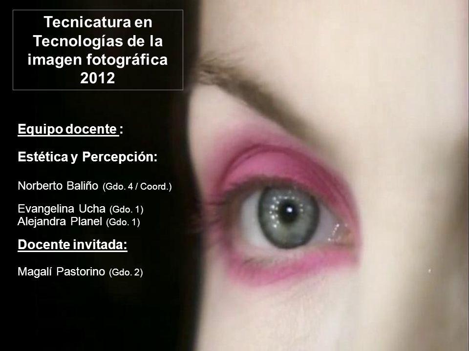 Tecnicatura en Tecnologías de la imagen fotográfica 2012 Equipo docente : Estética y Percepción: Norberto Baliño (Gdo.
