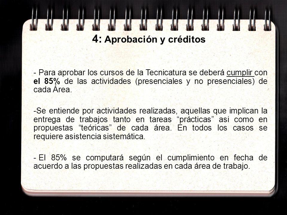 4: Aprobación y créditos - Para aprobar los cursos de la Tecnicatura se deberá cumplir con el 85% de las actividades (presenciales y no presenciales) de cada Área.