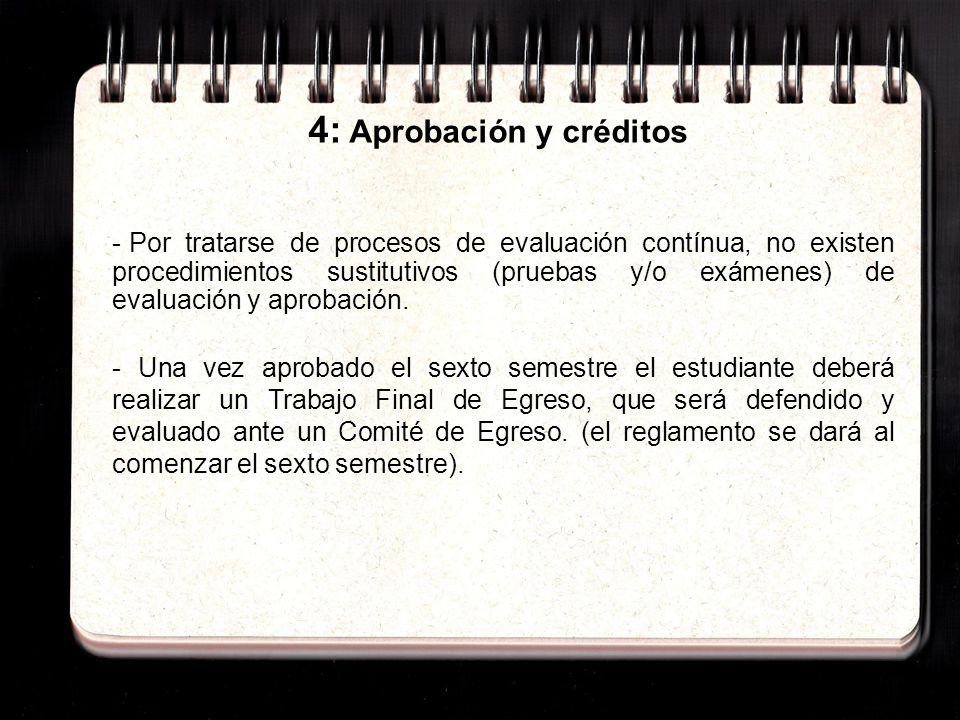 4: Aprobación y créditos - Por tratarse de procesos de evaluación contínua, no existen procedimientos sustitutivos (pruebas y/o exámenes) de evaluación y aprobación.