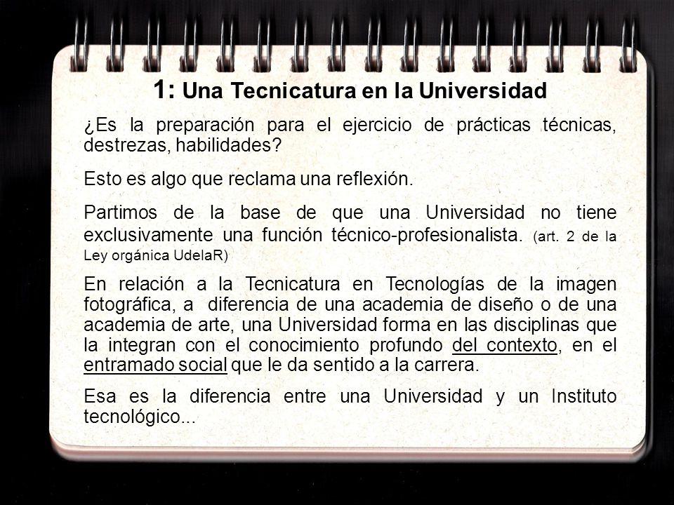 1: Una Tecnicatura en la Universidad ¿Es la preparación para el ejercicio de prácticas técnicas, destrezas, habilidades.