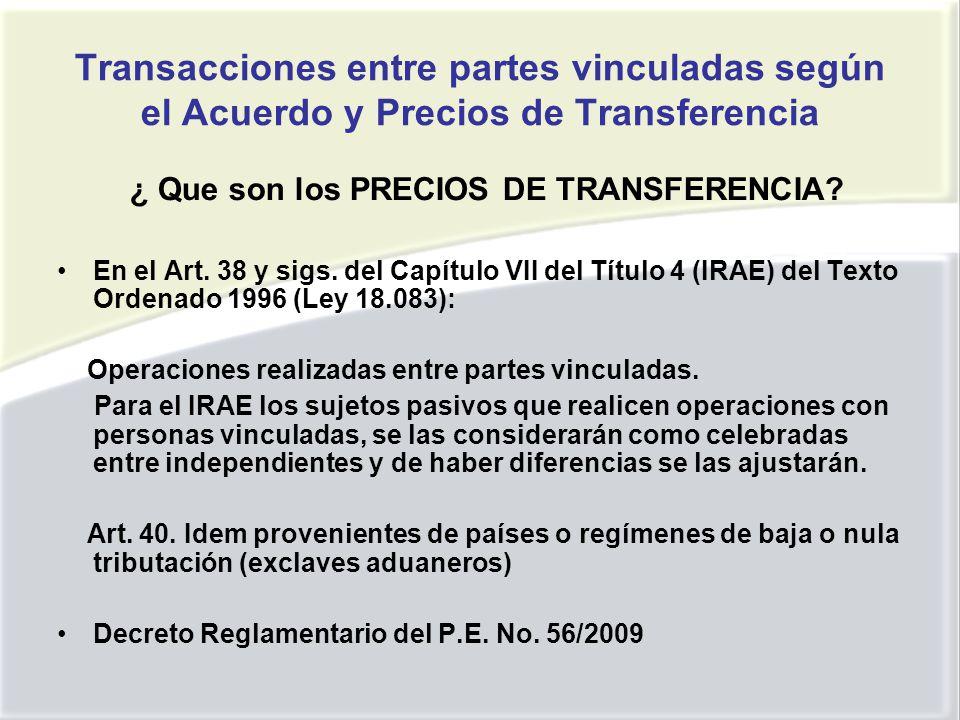 Transacciones entre partes vinculadas según el Acuerdo y Precios de Transferencia ¿ Que son los PRECIOS DE TRANSFERENCIA.