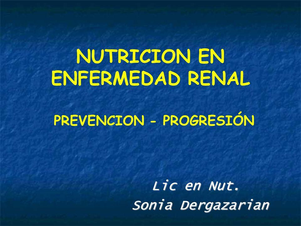 NUTRICION EN ENFERMEDAD RENAL PREVENCION - PROGRESIÓN Lic en Nut.
