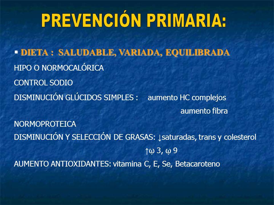 DIETA : SALUDABLE, VARIADA, EQUILIBRADA DIETA : SALUDABLE, VARIADA, EQUILIBRADA HIPO O NORMOCALÓRICA CONTROL SODIO DISMINUCIÓN GLÚCIDOS SIMPLES : aumento HC complejos aumento fibra NORMOPROTEICA DISMINUCIÓN Y SELECCIÓN DE GRASAS: saturadas, trans y colesterol 3, 9 AUMENTO ANTIOXIDANTES: vitamina C, E, Se, Betacaroteno
