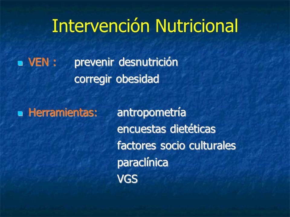 Intervención Nutricional VEN : prevenir desnutrición VEN : prevenir desnutrición corregir obesidad Herramientas: antropometría Herramientas: antropometría encuestas dietéticas factores socio culturales paraclínicaVGS