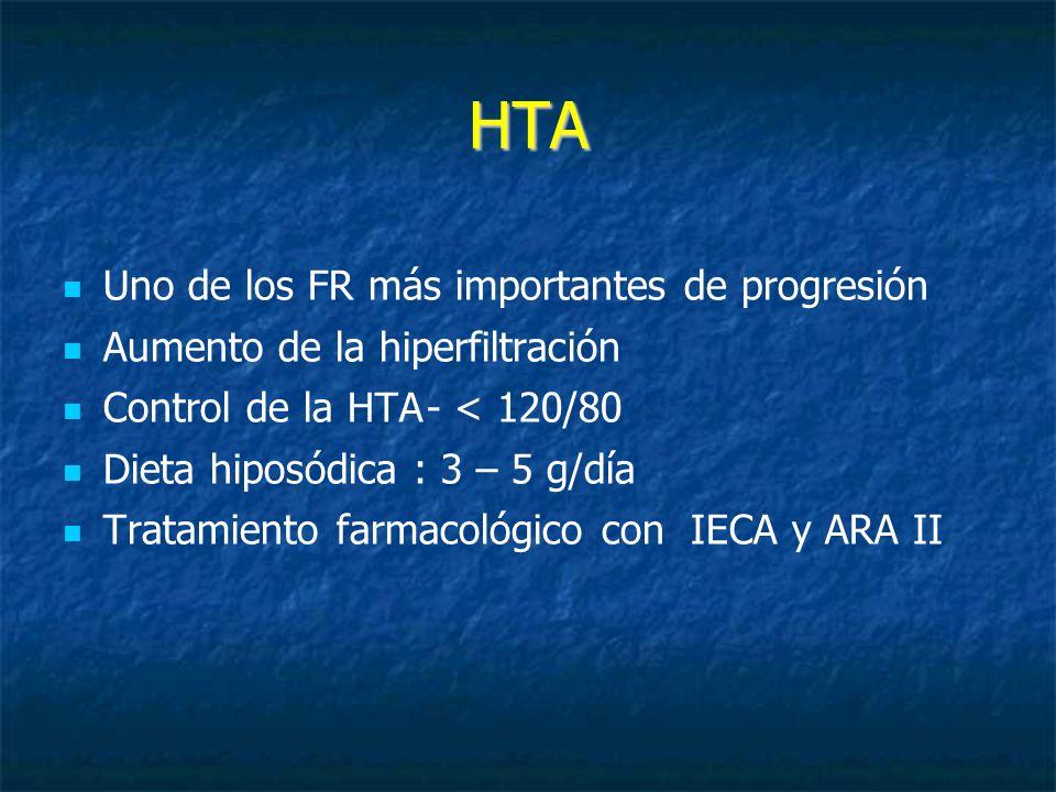 HTA Uno de los FR más importantes de progresión Aumento de la hiperfiltración Control de la HTA- < 120/80 Dieta hiposódica : 3 – 5 g/día Tratamiento farmacológico con IECA y ARA II