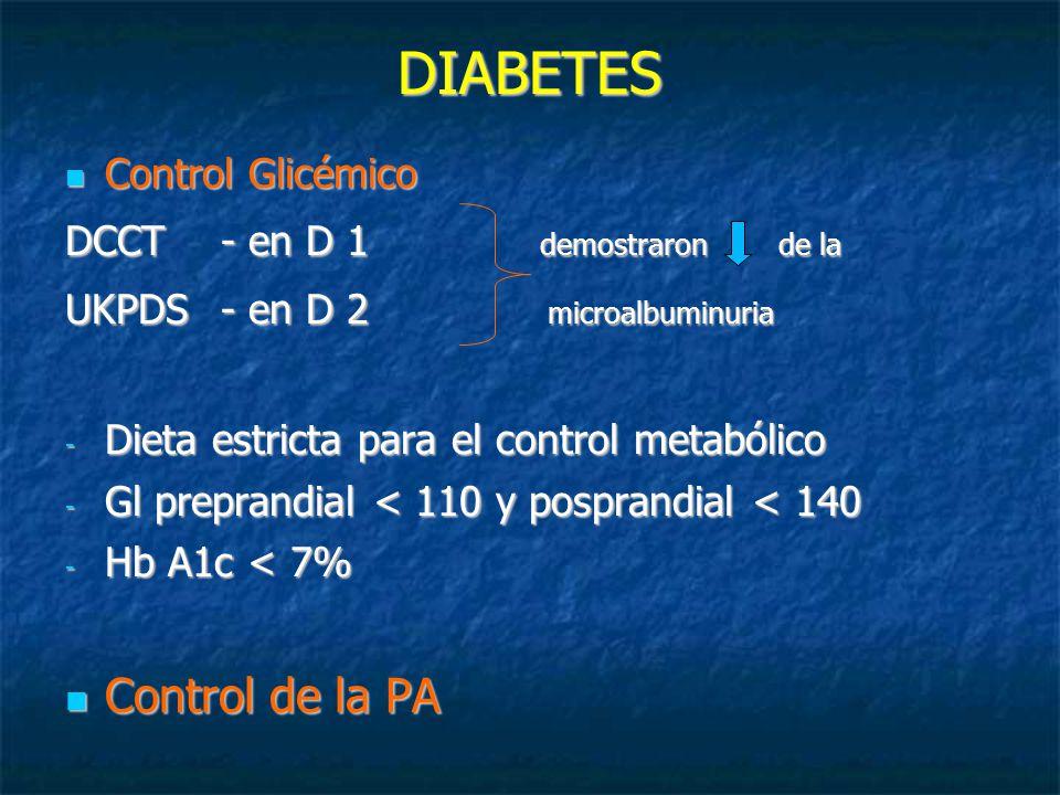 DIABETES Control Glicémico Control Glicémico DCCT - en D 1 demostraron de la UKPDS - en D 2 microalbuminuria - Dieta estricta para el control metabólico - Gl preprandial < 110 y posprandial < 140 - Hb A1c < 7% Control de la PA Control de la PA