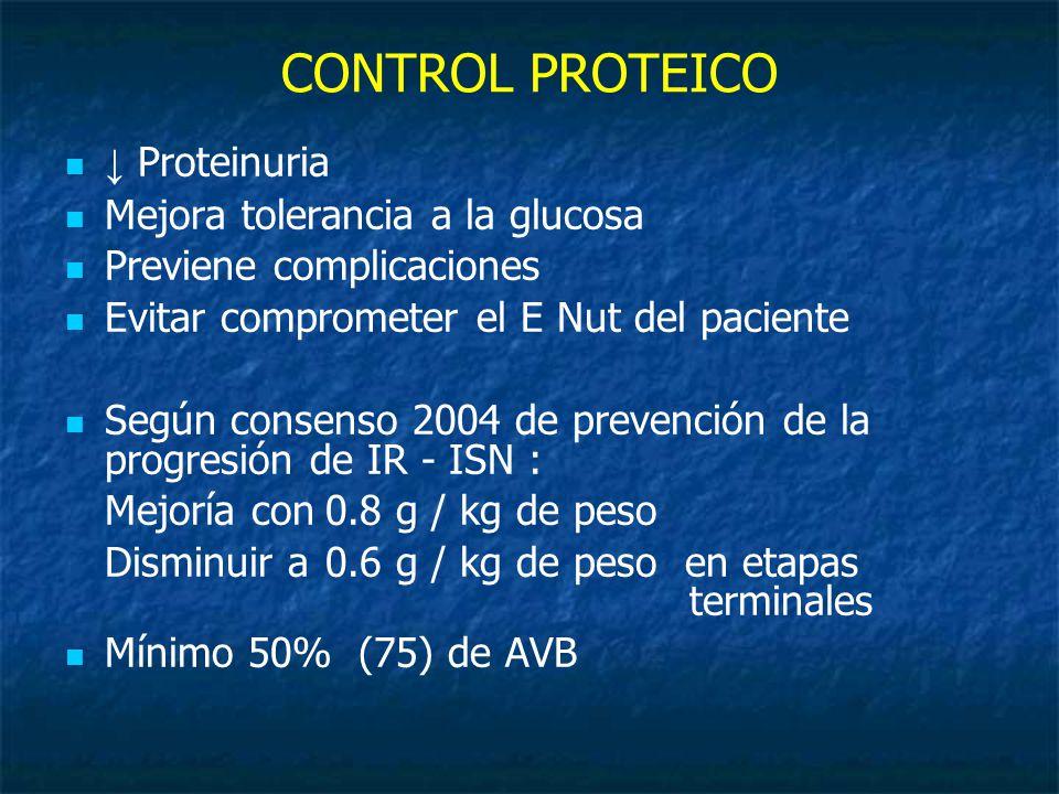 CONTROL PROTEICO Proteinuria Mejora tolerancia a la glucosa Previene complicaciones Evitar comprometer el E Nut del paciente Según consenso 2004 de prevención de la progresión de IR - ISN : Mejoría con0.8 g / kg de peso Disminuir a 0.6 g / kg de peso en etapas terminales Mínimo 50% (75) de AVB