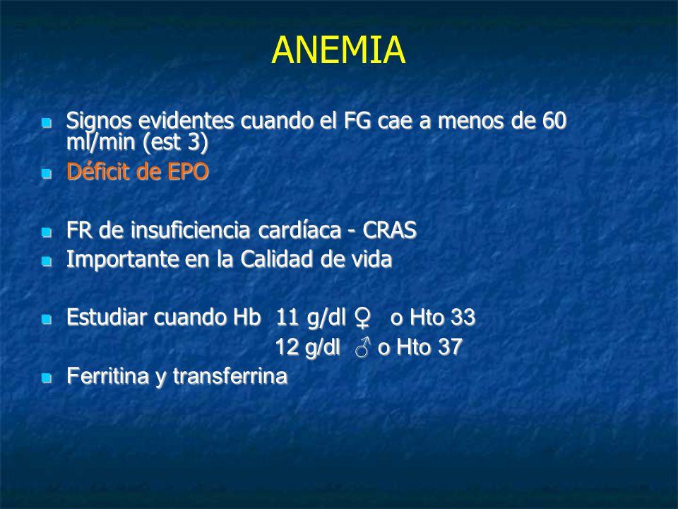 ANEMIA Signos evidentes cuando el FG cae a menos de 60 ml/min (est 3) Signos evidentes cuando el FG cae a menos de 60 ml/min (est 3) Déficit de EPO Déficit de EPO FR de insuficiencia cardíaca - CRAS FR de insuficiencia cardíaca - CRAS Importante en la Calidad de vida Importante en la Calidad de vida Estudiar cuando Hb 11 g/dl o Hto 33 Estudiar cuando Hb 11 g/dl o Hto 33 12 g/dl o Hto 37 Ferritina y transferrina Ferritina y transferrina
