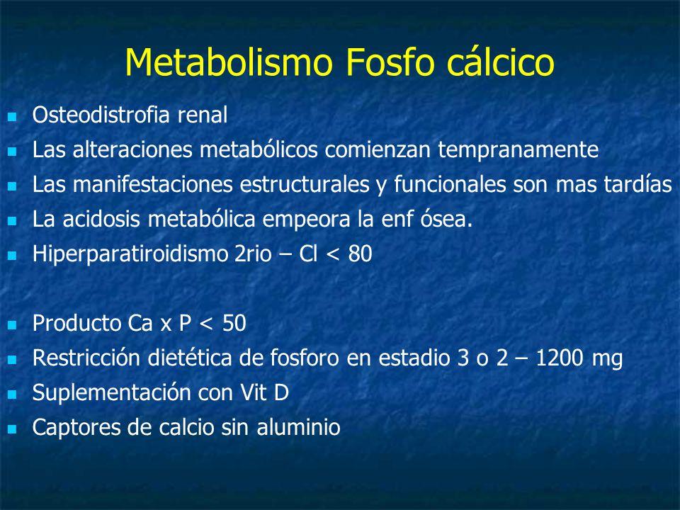 Metabolismo Fosfo cálcico Osteodistrofia renal Las alteraciones metabólicos comienzan tempranamente Las manifestaciones estructurales y funcionales son mas tardías La acidosis metabólica empeora la enf ósea.